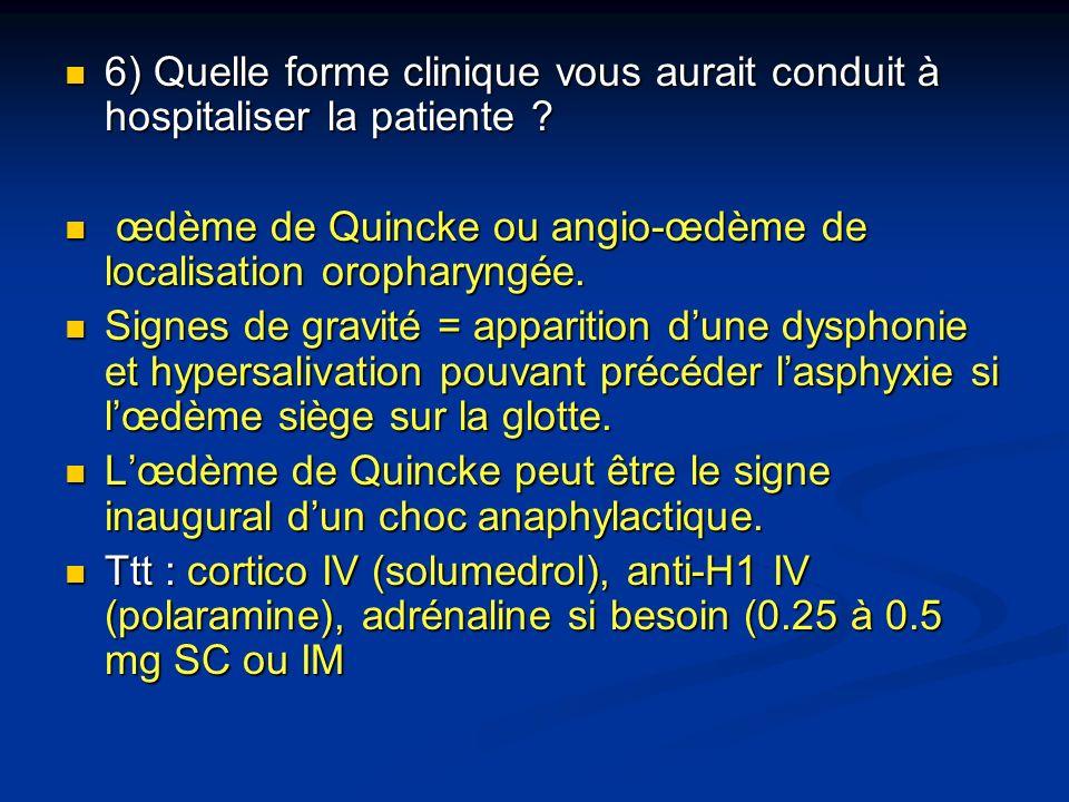 6) Quelle forme clinique vous aurait conduit à hospitaliser la patiente
