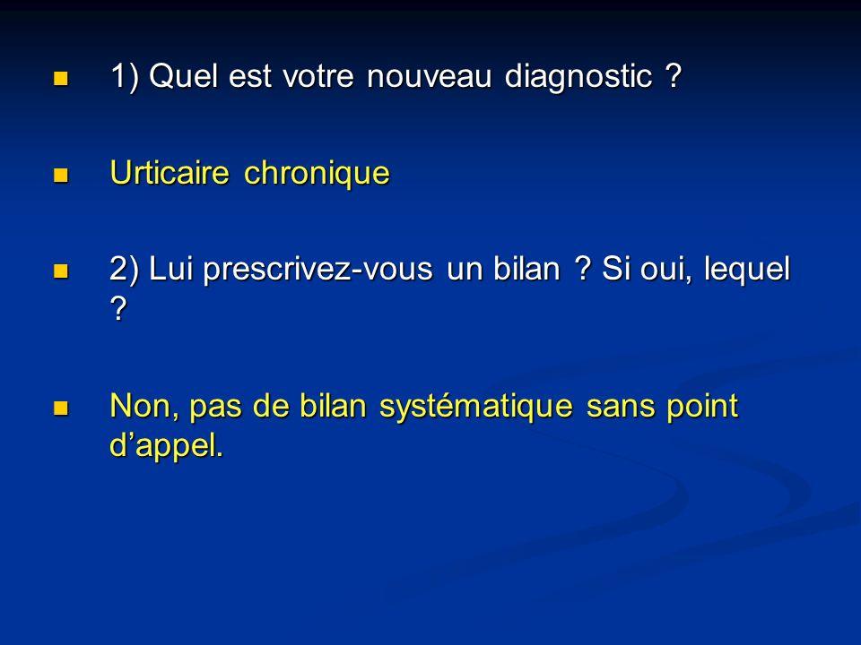 1) Quel est votre nouveau diagnostic