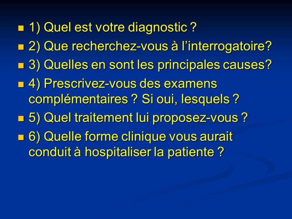 1) Quel est votre diagnostic