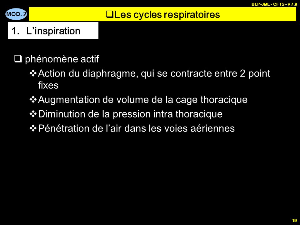 Les cycles respiratoires