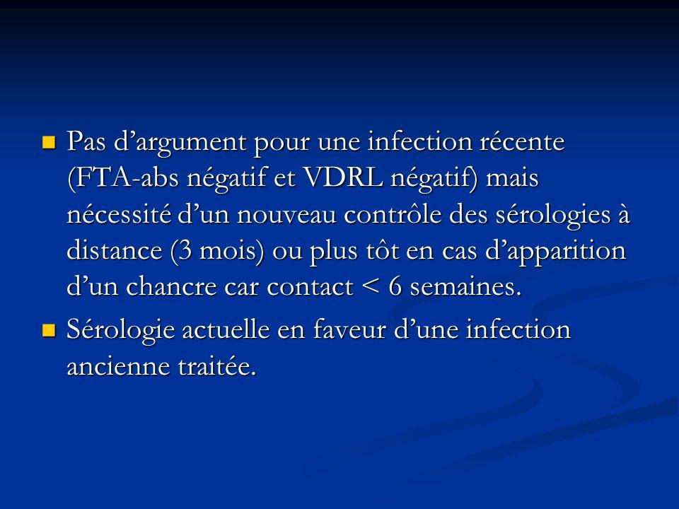 Pas d'argument pour une infection récente (FTA-abs négatif et VDRL négatif) mais nécessité d'un nouveau contrôle des sérologies à distance (3 mois) ou plus tôt en cas d'apparition d'un chancre car contact < 6 semaines.