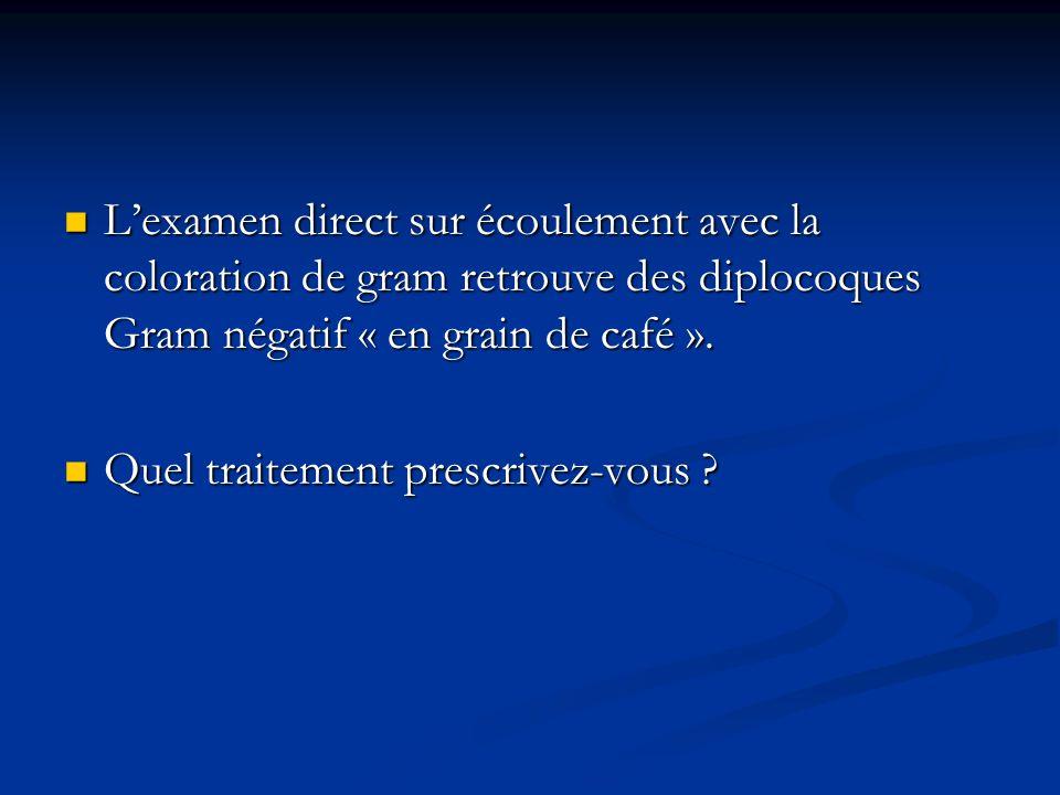 L'examen direct sur écoulement avec la coloration de gram retrouve des diplocoques Gram négatif « en grain de café ».