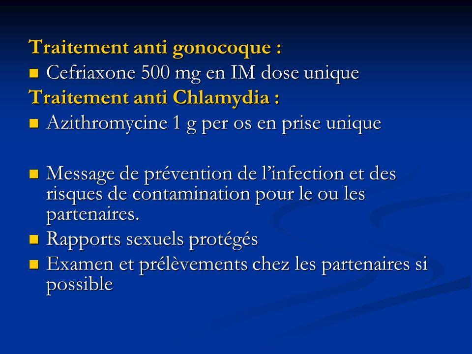 Traitement anti gonocoque :