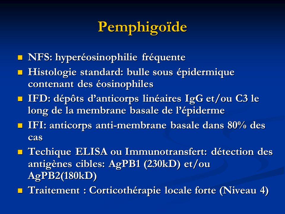Pemphigoïde NFS: hyperéosinophilie fréquente