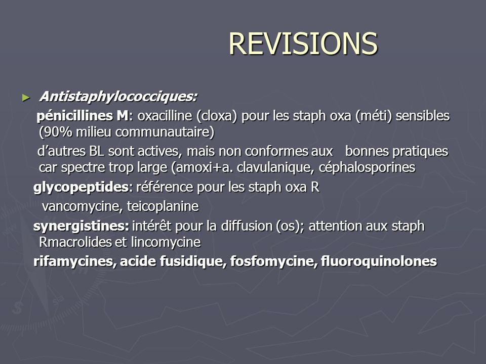 REVISIONS Antistaphylococciques: