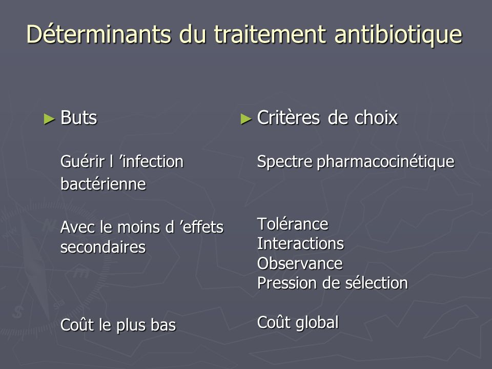 Déterminants du traitement antibiotique