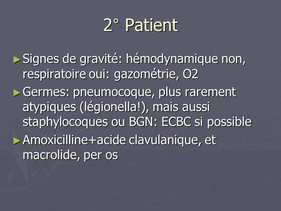 2° Patient Signes de gravité: hémodynamique non, respiratoire oui: gazométrie, O2.