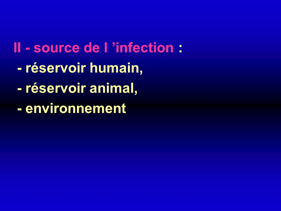 II - source de l 'infection :