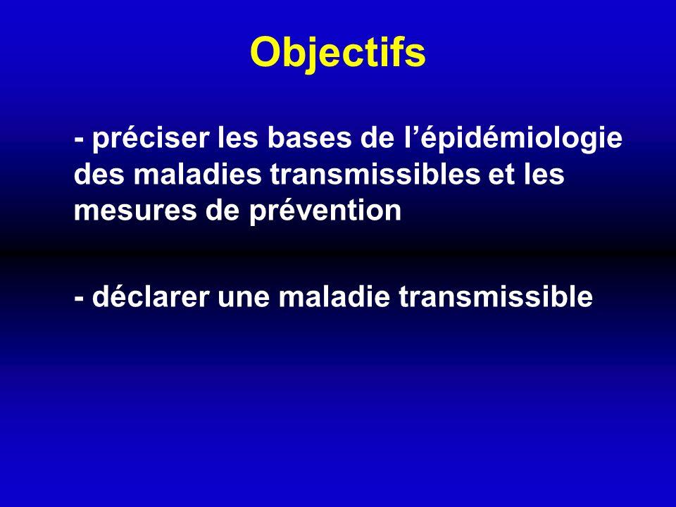 Objectifs - préciser les bases de l'épidémiologie des maladies transmissibles et les mesures de prévention.