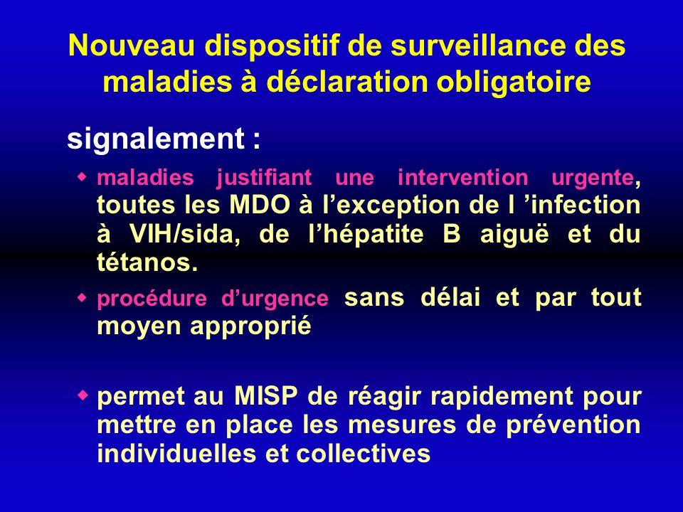 Nouveau dispositif de surveillance des maladies à déclaration obligatoire