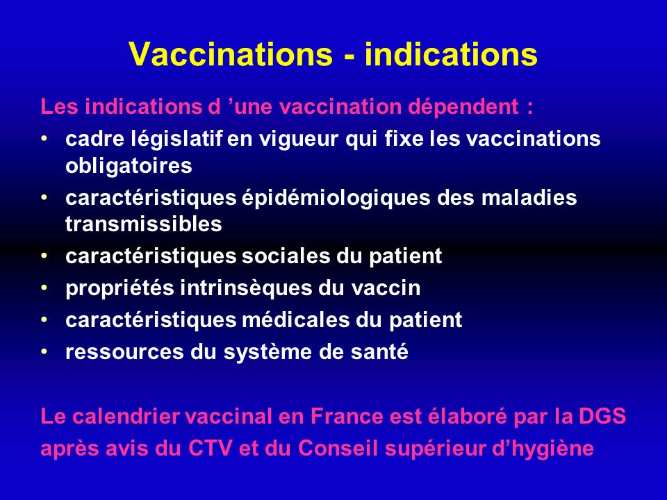 Vaccinations - indications