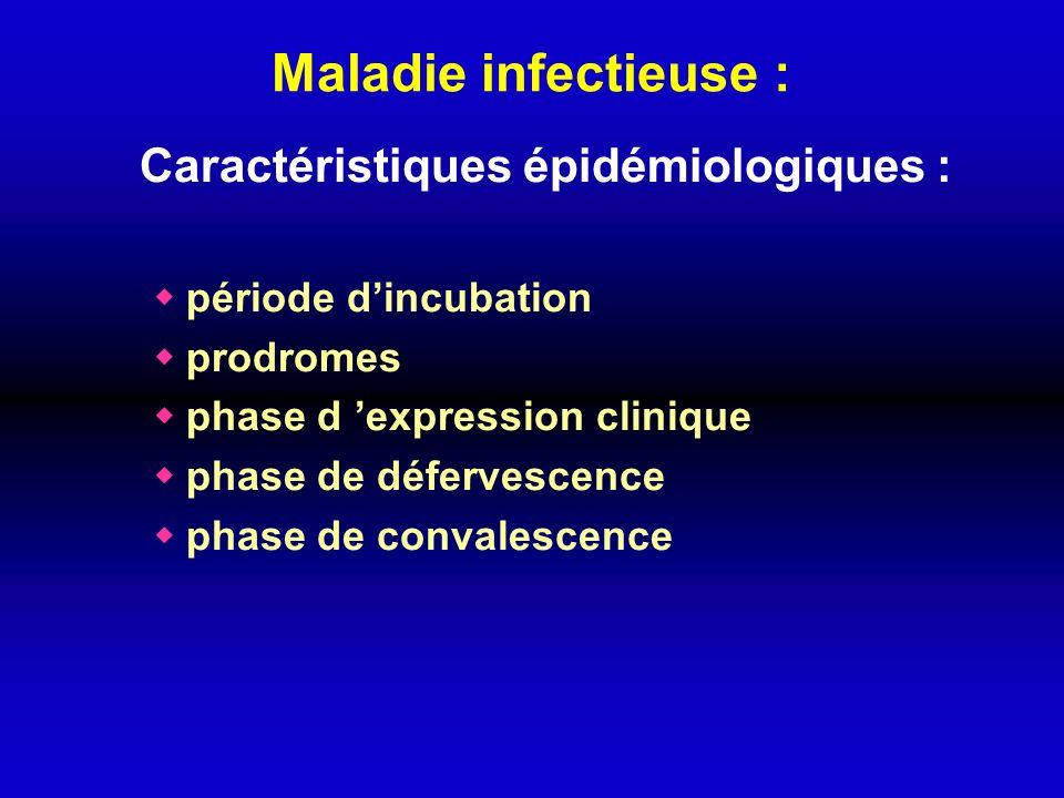 Maladie infectieuse : Caractéristiques épidémiologiques :