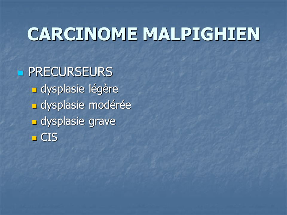 CARCINOME MALPIGHIEN PRECURSEURS dysplasie légère dysplasie modérée