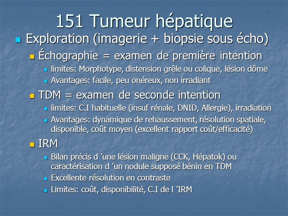 151 Tumeur hépatique Exploration (imagerie + biopsie sous écho)