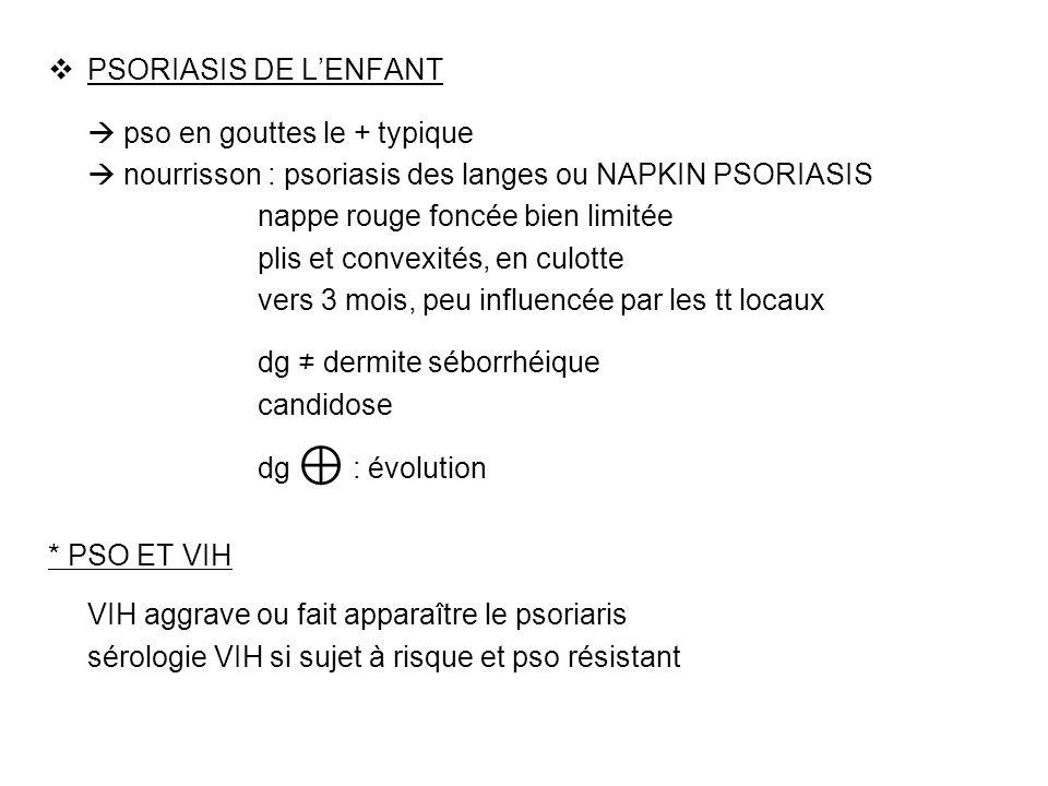 PSORIASIS DE L'ENFANT  pso en gouttes le + typique.  nourrisson : psoriasis des langes ou NAPKIN PSORIASIS.