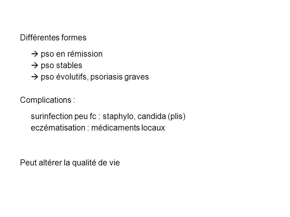 Différentes formes pso en rémission.  pso stables.  pso évolutifs, psoriasis graves. Complications :