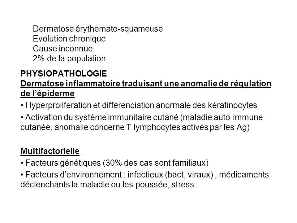 Dermatose érythemato-squameuse. Evolution chronique. Cause inconnue