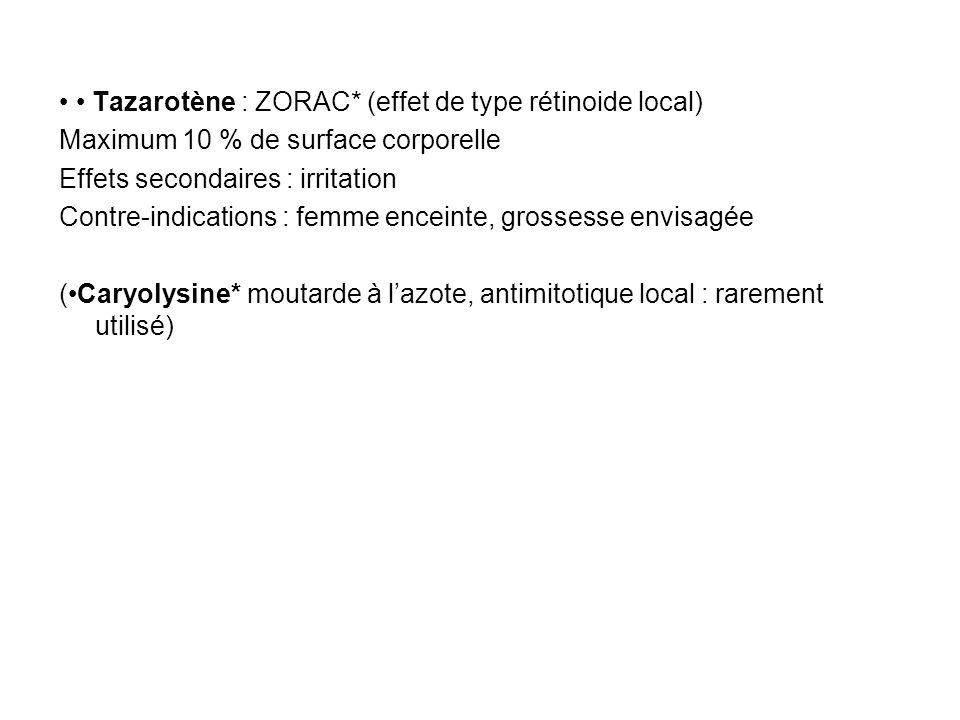 • • Tazarotène : ZORAC* (effet de type rétinoide local)