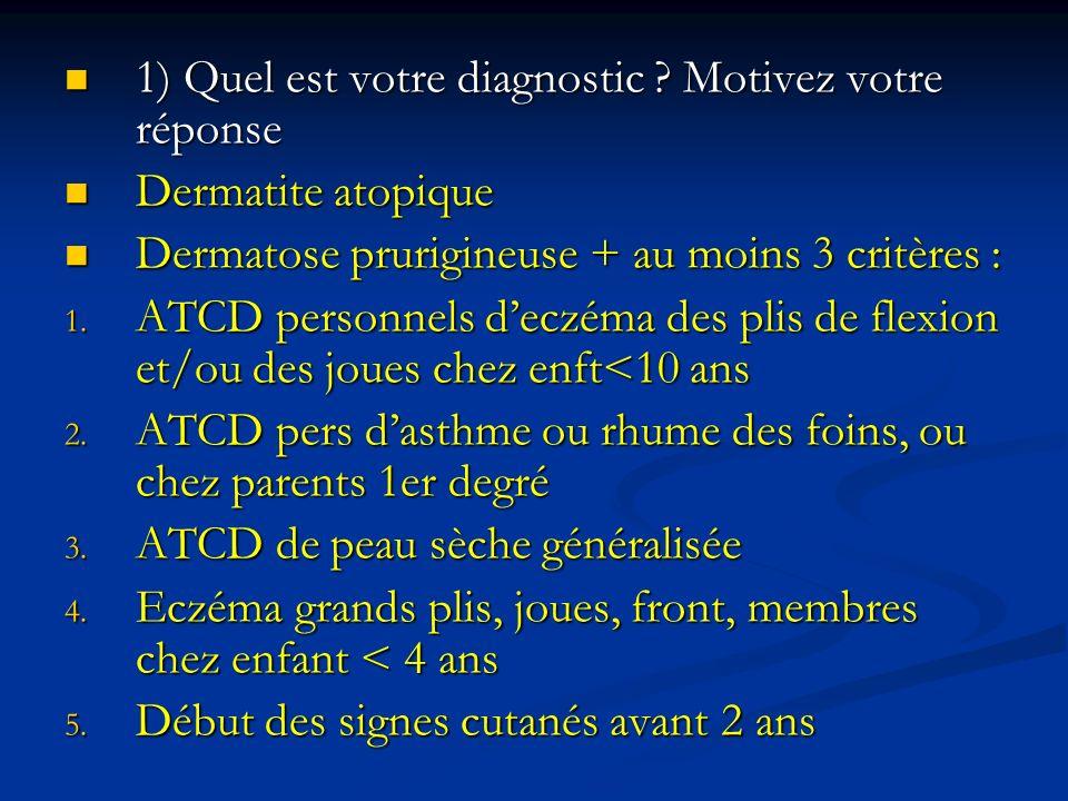 1) Quel est votre diagnostic Motivez votre réponse