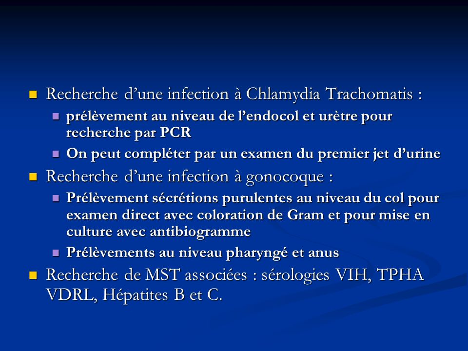 Recherche d'une infection à Chlamydia Trachomatis :