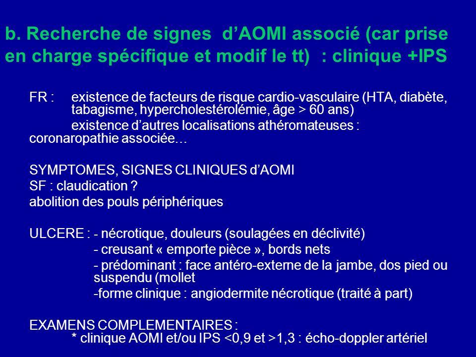 b. Recherche de signes d'AOMI associé (car prise en charge spécifique et modif le tt) : clinique +IPS