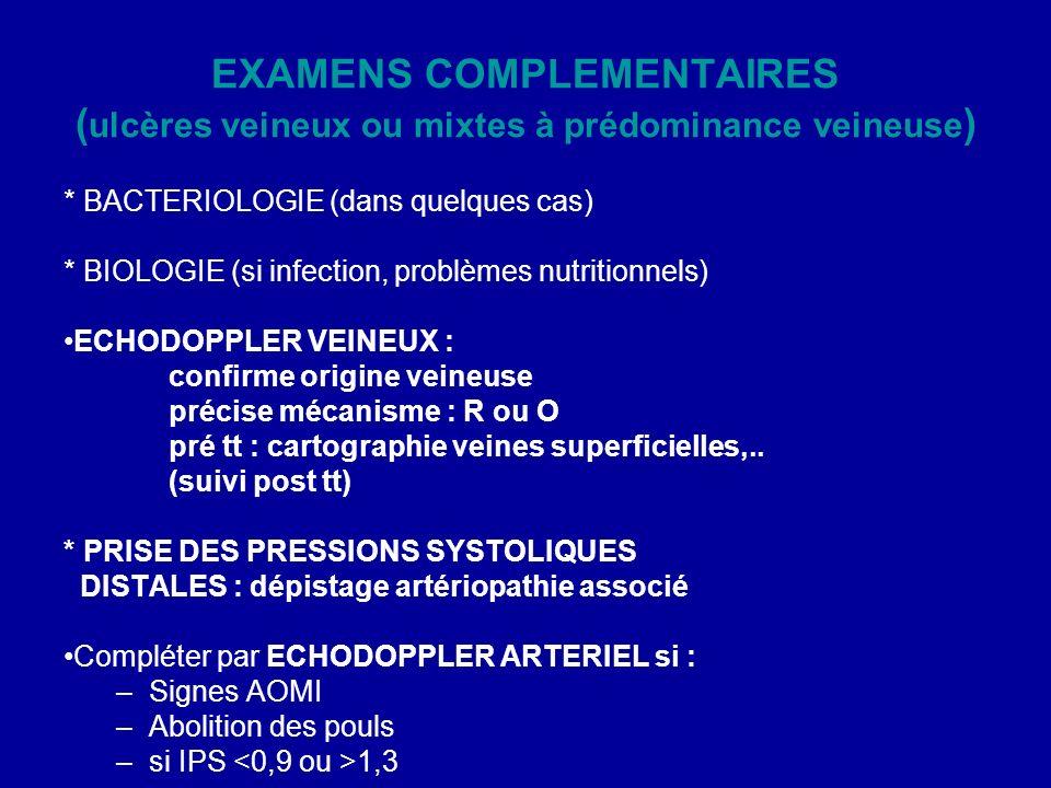 EXAMENS COMPLEMENTAIRES (ulcères veineux ou mixtes à prédominance veineuse)