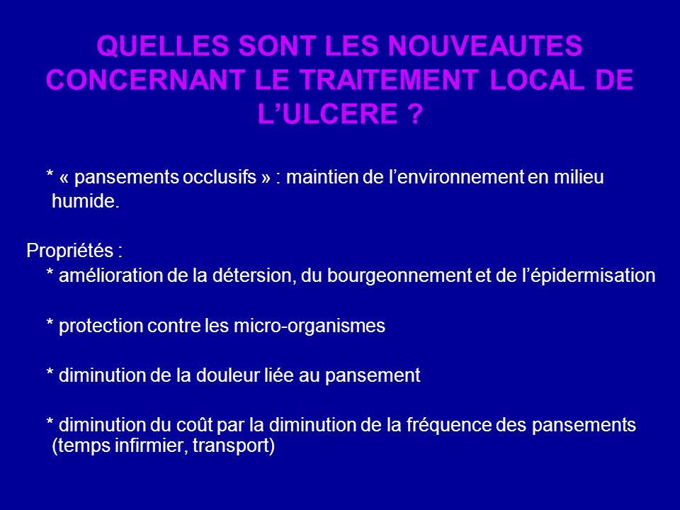 QUELLES SONT LES NOUVEAUTES CONCERNANT LE TRAITEMENT LOCAL DE L'ULCERE