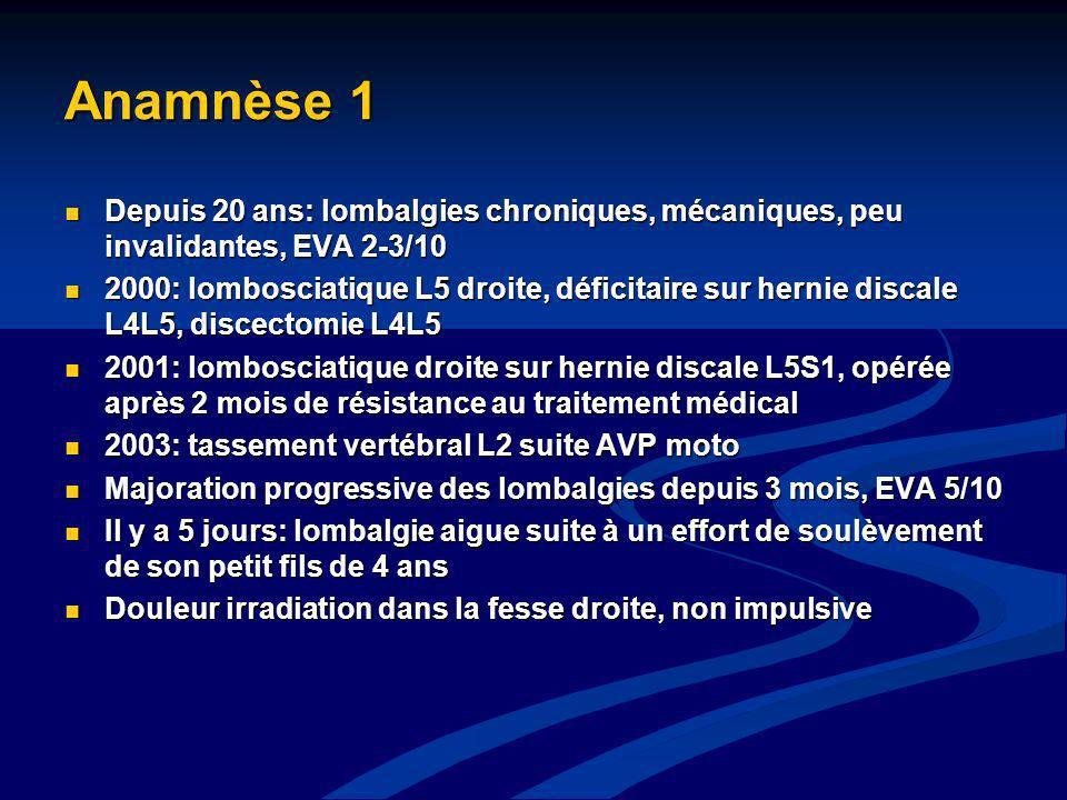 Anamnèse 1 Depuis 20 ans: lombalgies chroniques, mécaniques, peu invalidantes, EVA 2-3/10.