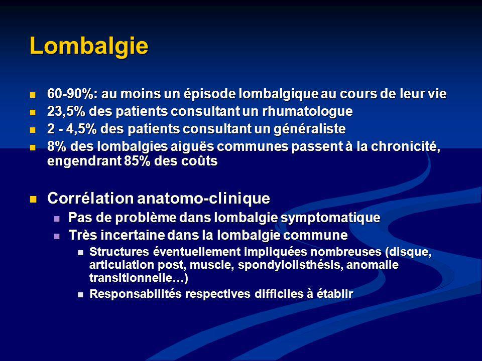 Lombalgie Corrélation anatomo-clinique