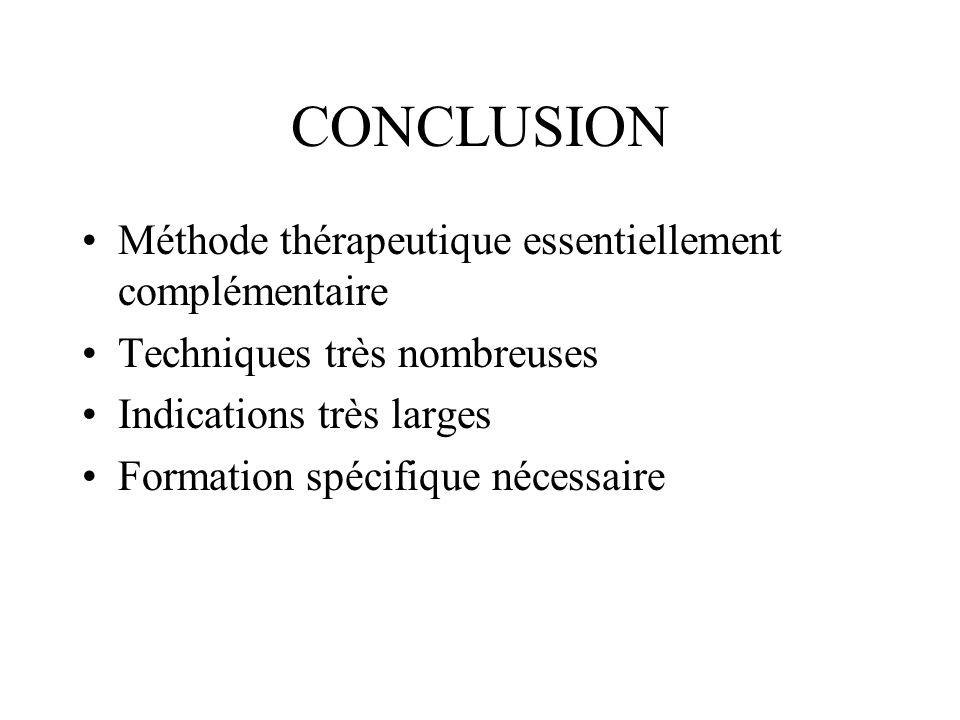 CONCLUSION Méthode thérapeutique essentiellement complémentaire
