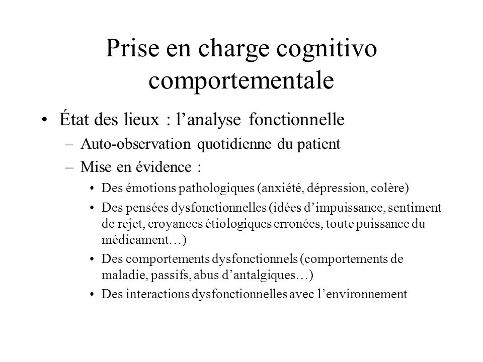 Prise en charge cognitivo comportementale