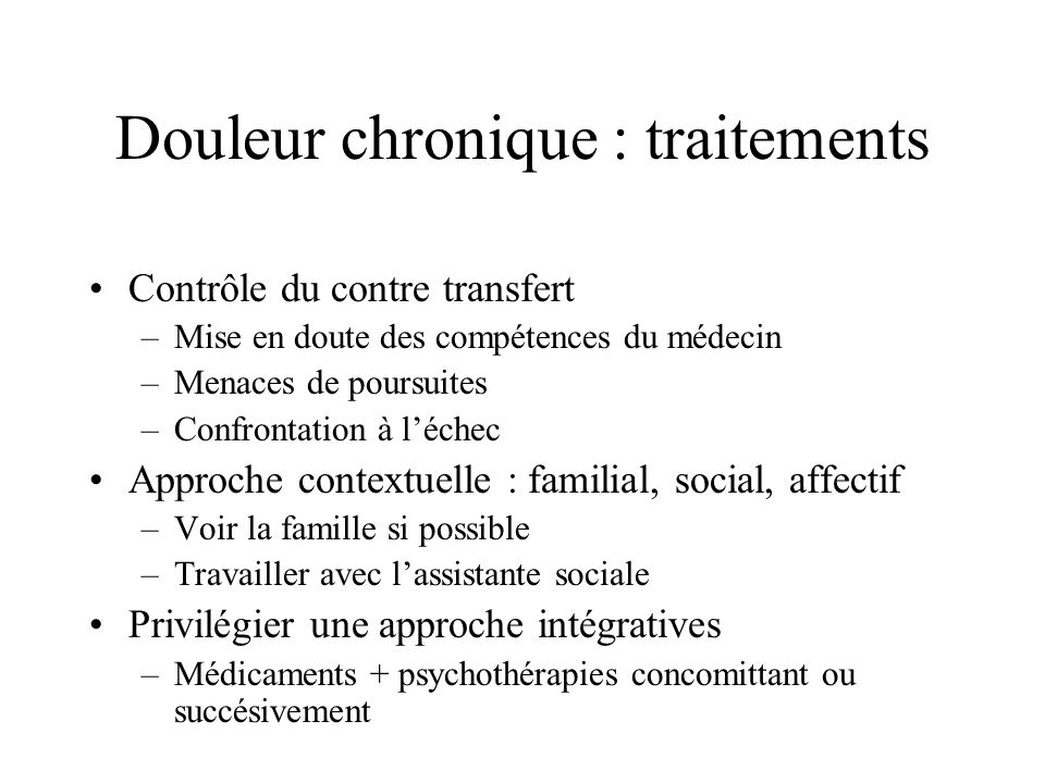 Douleur chronique : traitements