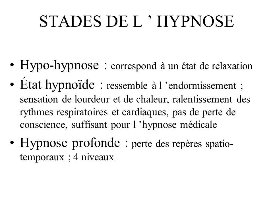 STADES DE L ' HYPNOSE Hypo-hypnose : correspond à un état de relaxation.