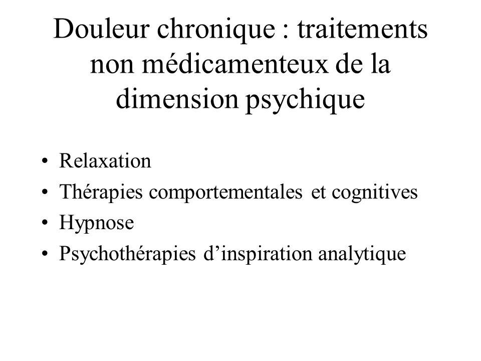 Douleur chronique : traitements non médicamenteux de la dimension psychique