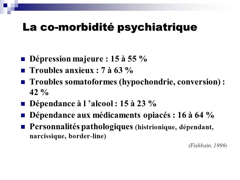 La co-morbidité psychiatrique
