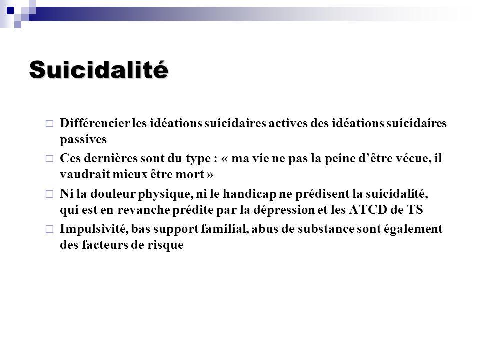 Suicidalité Différencier les idéations suicidaires actives des idéations suicidaires passives.