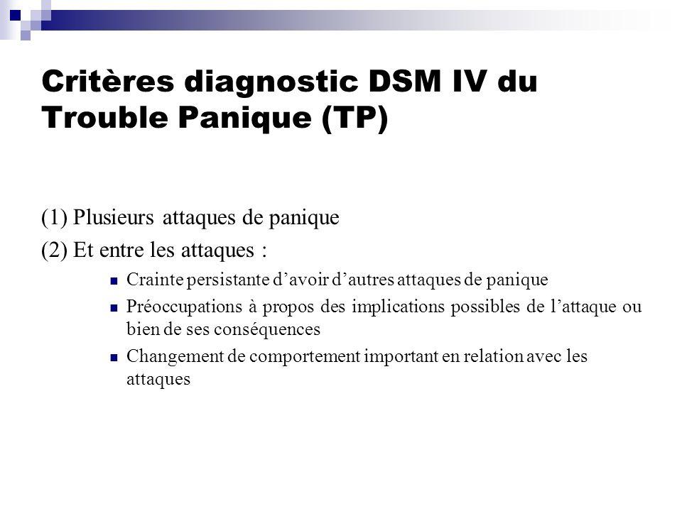 Critères diagnostic DSM IV du Trouble Panique (TP)
