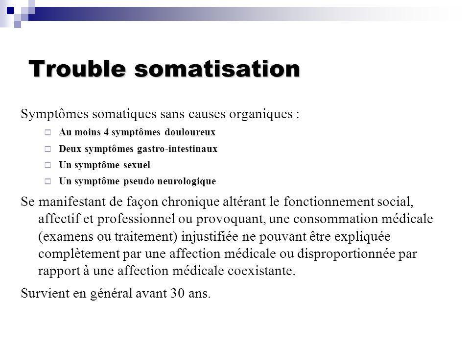 Trouble somatisation Symptômes somatiques sans causes organiques :