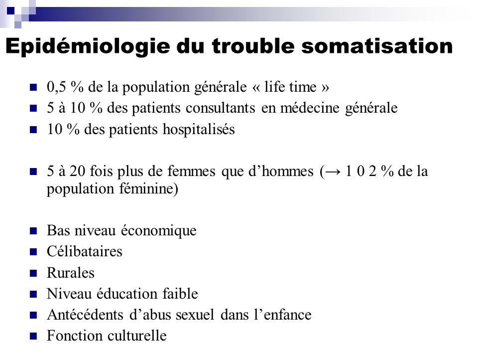 Epidémiologie du trouble somatisation