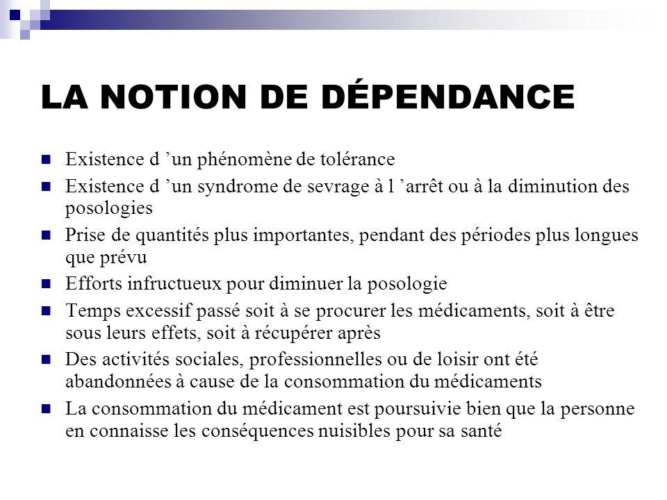 LA NOTION DE DÉPENDANCE