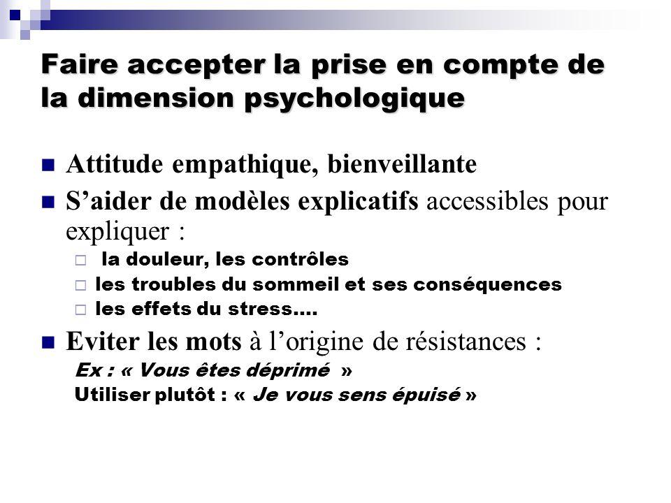 Faire accepter la prise en compte de la dimension psychologique