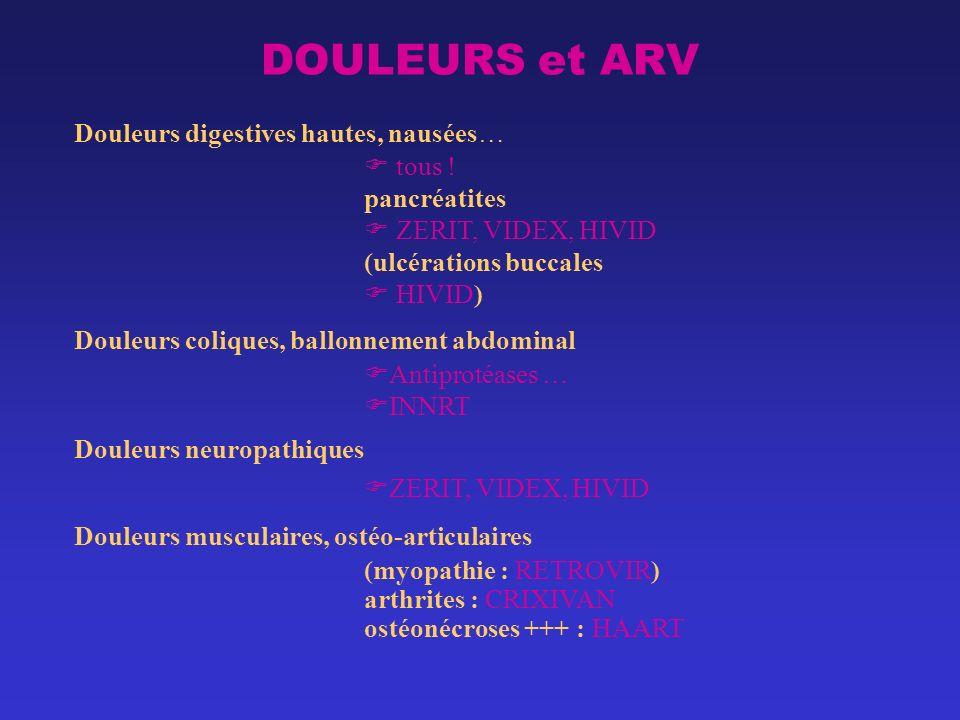 DOULEURS et ARV Douleurs digestives hautes, nausées… tous !