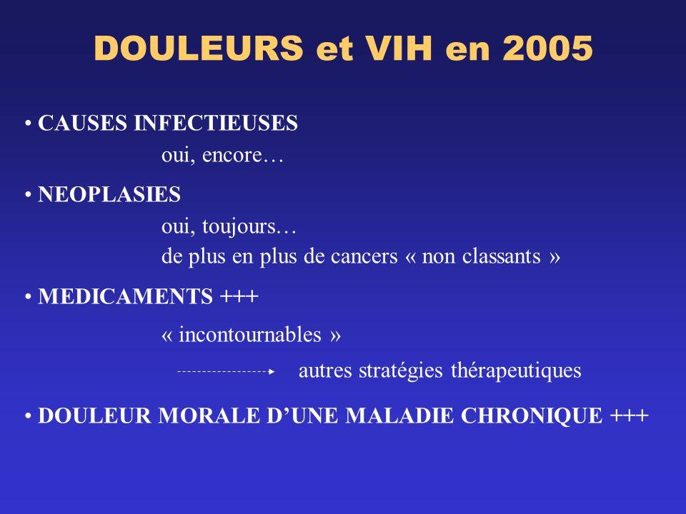 DOULEURS et VIH en 2005 CAUSES INFECTIEUSES oui, encore… NEOPLASIES