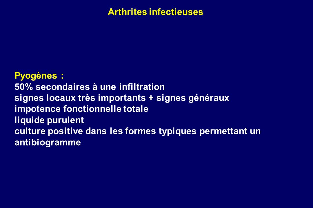 Arthrites infectieuses
