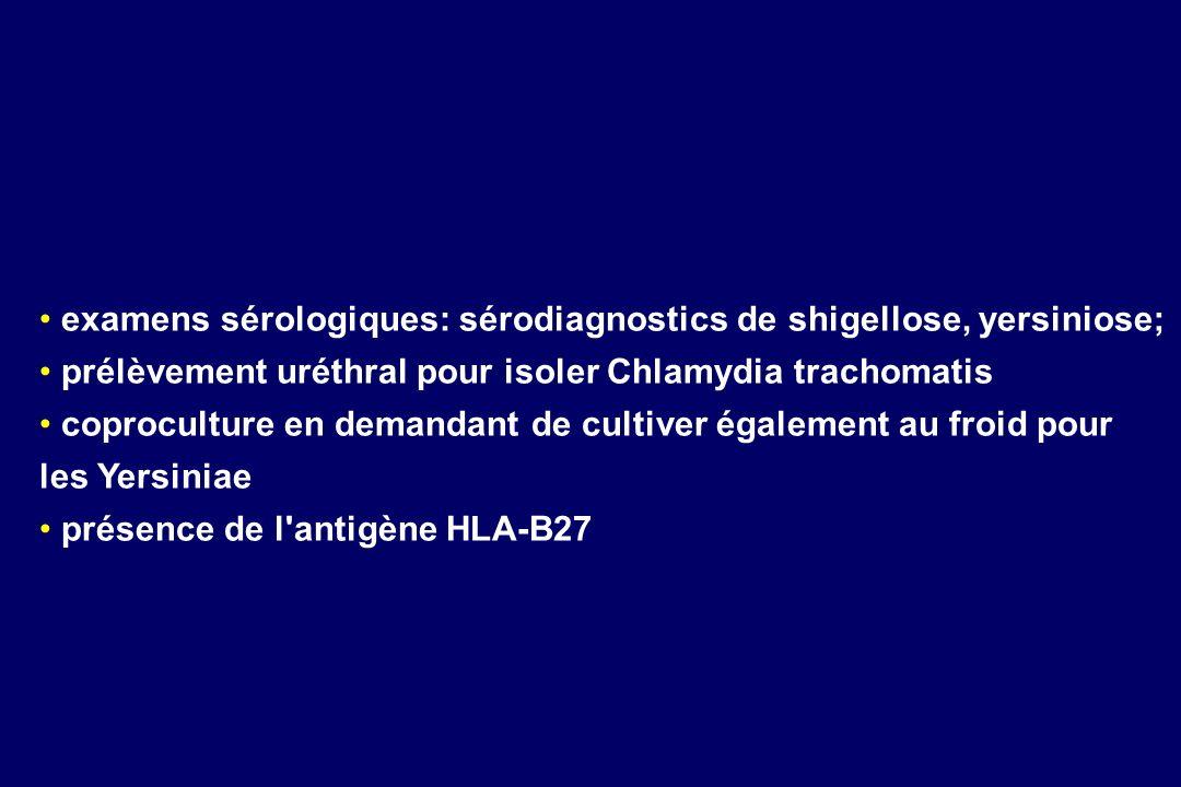 examens sérologiques: sérodiagnostics de shigellose, yersiniose;