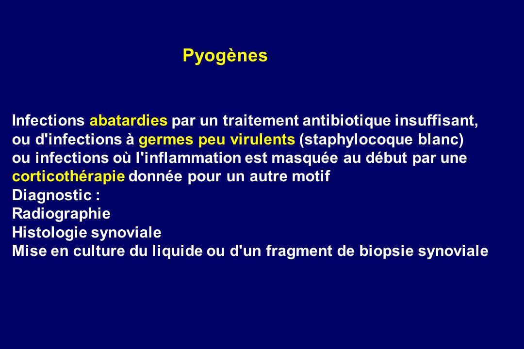 PyogènesInfections abatardies par un traitement antibiotique insuffisant, ou d infections à germes peu virulents (staphylocoque blanc)