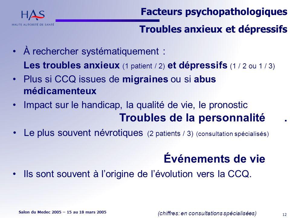 Facteurs psychopathologiques Troubles anxieux et dépressifs