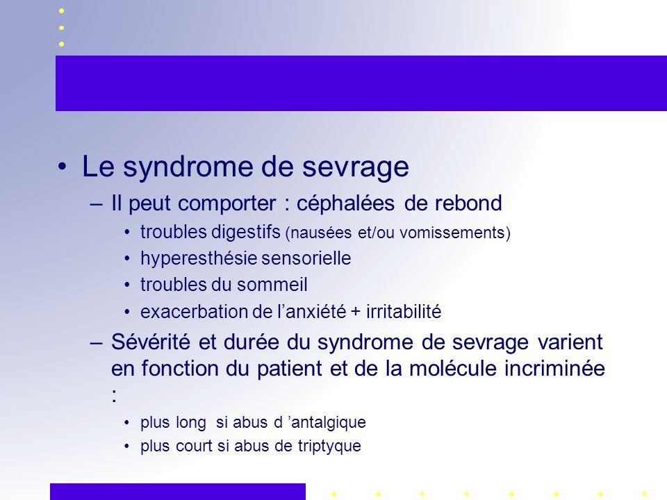 Le syndrome de sevrage Il peut comporter : céphalées de rebond
