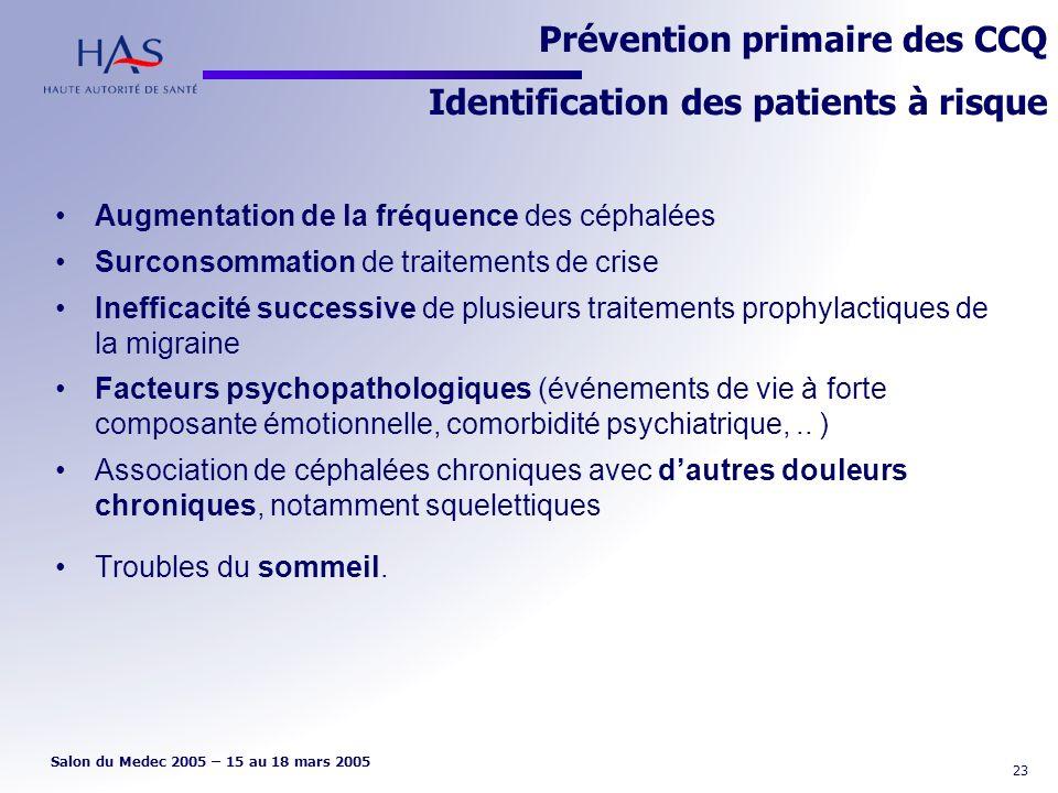 Prévention primaire des CCQ Identification des patients à risque