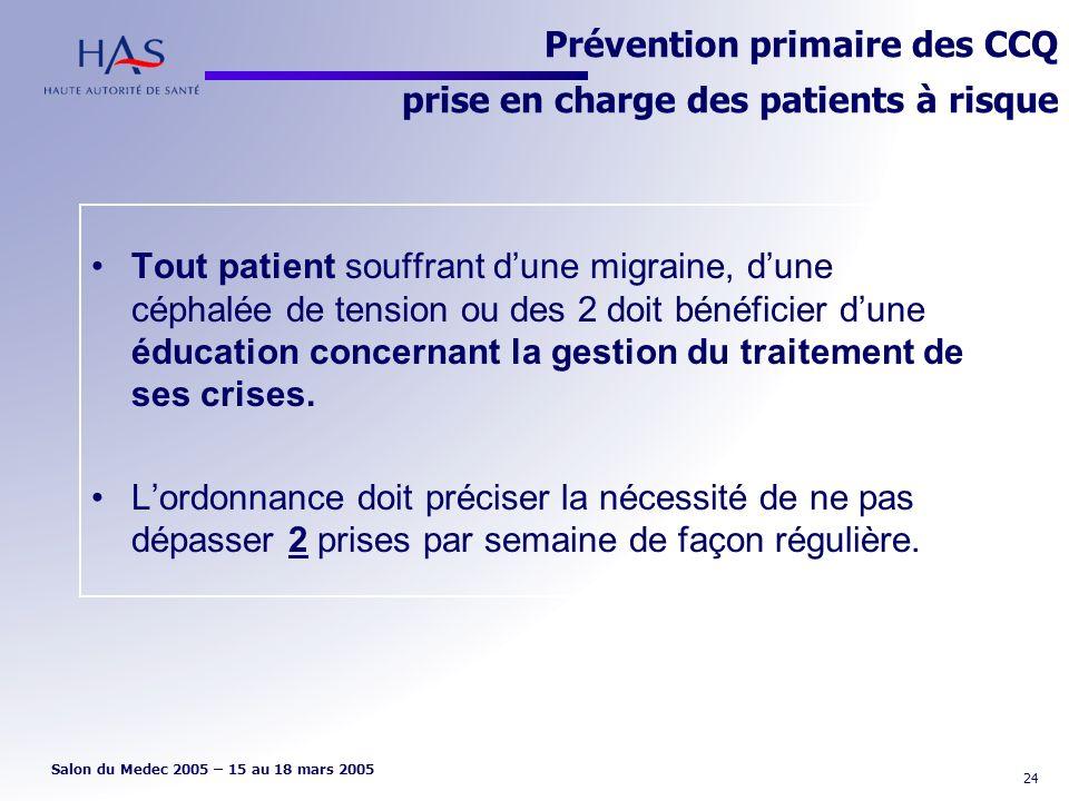 Prévention primaire des CCQ prise en charge des patients à risque